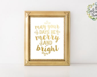 Christmas print, Winter printable Holiday wall art decor Joy art Print, INSTANT DOWNLOAD - Merry and Bright