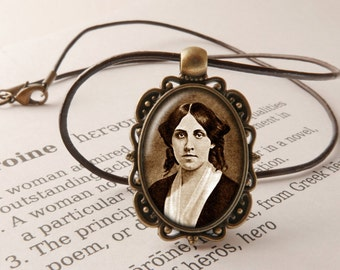 Louisa May Alcott Pendant Necklace - Little Women Jewelry, Literary Necklace, Poetry Pendant, Louisa May Alcott Jewellery