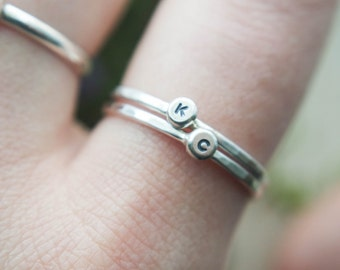 Initial Stacking ring | Letter stacking ring | Personalized stacking ring | Initial ring | Letter ring | Silver stacking ring
