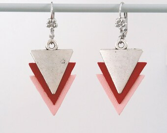 Earrings - pink leather and silver - Rosa Agatha and Ana