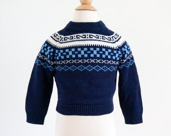 "Vintage 1960s Boys Approx Size 2T Knit Sweater / JcPenney Toddletime Nordic Fair Isle Pullover Sweater / chest 22"" length 12.5"""