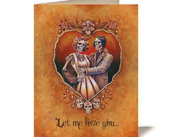 Alternative Valentine's Day / Anniversary / Halloween Card - Skeleton Couple
