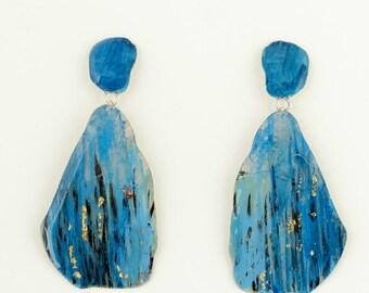 Blue statement pendant earrings