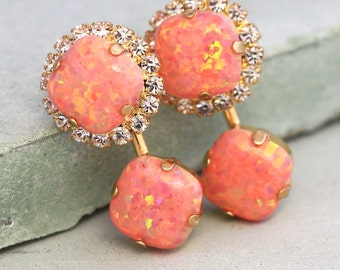 Ear Jackets Earrings,Opal Earrings,Swarovski Crystal Ear Jacket,Opal Stud Earrings,Orange Opal Studs,Opal Ear Jackets,Bridal Earrings