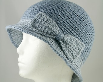 Cloche Hat in Two Tones of Faded Denim Blue for Cancer Patients - Chemo Hat/Cancer Hat/Chemo Cap/Cancer Cap
