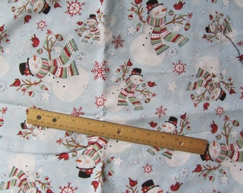 Pale Blue Snowman with Scarf Cotton Fabric by the Yard