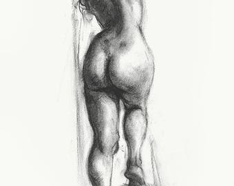 Original Charcoal Drawing Of A Woman, Size A3, Framed,  With Passepartout