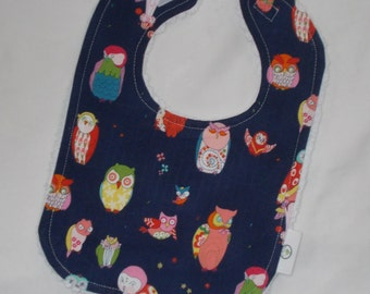 Cool Navy Blue Owls and Chenille Bib - SALE
