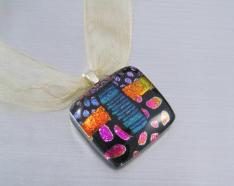 Dichroic Fused Glass Pendant - Square Glass Pendant - Pink Dots on Black - Orange & Blue Dichroic Glass Cabachon - Patterned Dichroic Glass