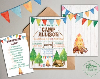 Camp Birthday Invitation, Camping Invitation, Camp Party, Gender Neutral Camp Invitation, Camping Birthday Invitation