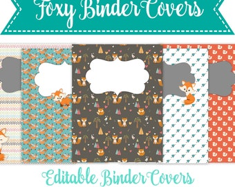 Printable Binder Covers, Foxy Binder Covers, Instant Download