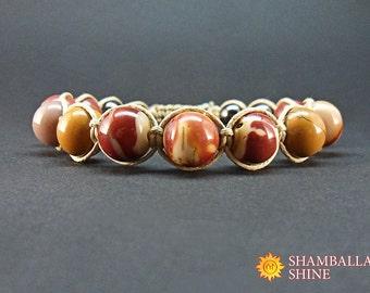 Meditation stone jewelry Healing energy gemstone Mookaite Round jasper beads Yellow red stone Natural gemstone bracelet Unisex bracelet Gift