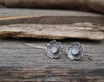 Sterling Silver Dangle Earrings, Moonstone Earrings, Flower Earrings, White Stone Earrings, Silver and White Earrings, Minimalist Earrings