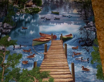 1 panel Lake Nature by Timeless Treasures Lake and cottage boats, docks, deck chairs and ducks