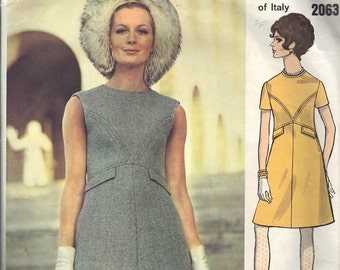 Sewing Pattern Vogue Couturier 2063 Design Valentino A-line Semi Fitted Mod Mini Dress Bust 32 Vintage Retro 60s
