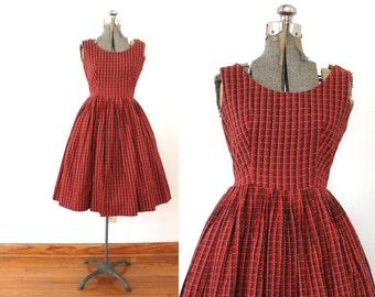 1950s Dress / 50s Dress / 1950s Red Plaid Full Skirt Dress