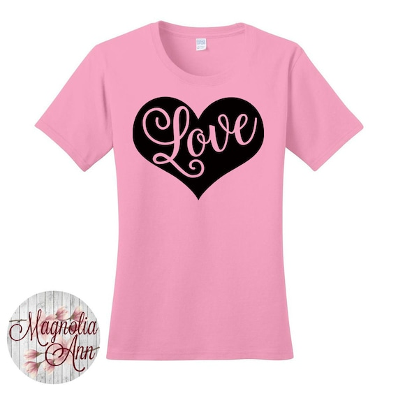 Love Heart, Valentines Day, Women's Graphic T-shirt in 7 Different Colors in Sizes Small-4X, Plus Size