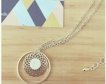 Silvered brass with secret, print and White Leather necklace