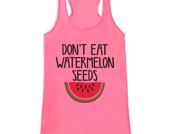 Pregnancy Announcement Tank - Don't Eat Watermelon Seeds Pregnancy Shirt - Funny Pregnancy Reveal Shirt - Pink Tank - Pregnancy Announcement