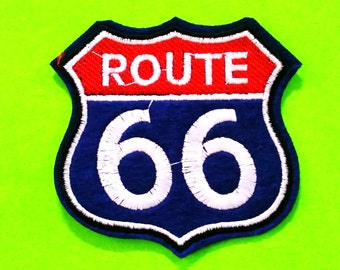 Route 66 Road Trip Roadside America Highway Sign Blue Deluxe Iron or Sew On Patch