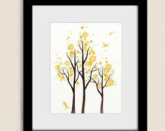 Lemon Yellow Wall Decor Living Room Print 11 x 14, Tree Wall Art for Bedroom, Tree Art Print (190)