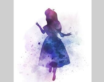 Alice in Wonderland ART PRINT illustration, Disney, Princess, Wall Art, Home Decor, Nursery, Gift