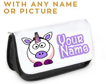 Personalised Unicorn Pencil Case DS Case Clutch Make Up bag Christmas gift Chimp