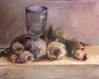 Flowers and a glass , oil painting, original, contemporary, realism, handmade , artist, maisa