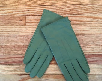 90's Olive Green Leather Gloves m/l