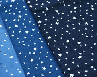 FABRIC : Small Gold Silver Foil Star Printed 100% Cotton Light Weight Denim Fabric
