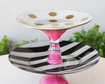 Pink Cupcake Stand Gold Pink Black Painted 2 Tier Made To order