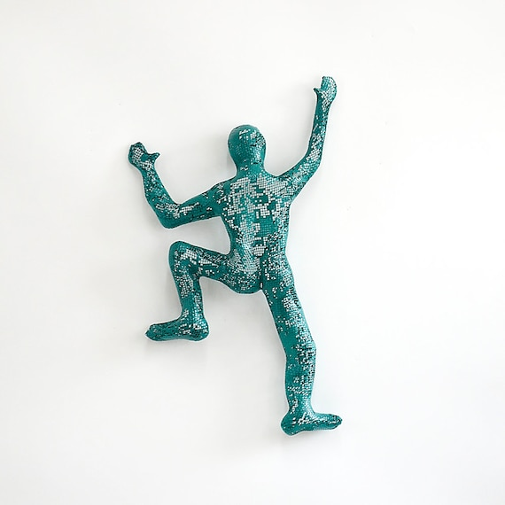 Climbing man sculpture Contemporary metal wall art wire mesh