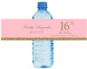 Sweet 16 Birthday Pink & Gold Water Bottle Labels easy to apply self stick label