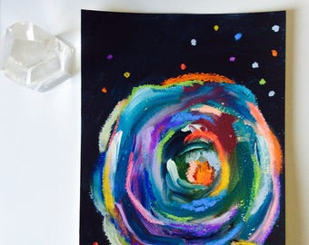 Abstract flower painting - rose, colorful painting, mixed media art, modern flower painting, home decor, floral art