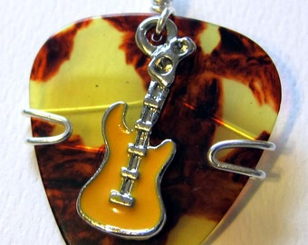 Guitar Pick Jewelry - Tortoise Shell pick with yellow guitar charm- pendant - keychain - necklace
