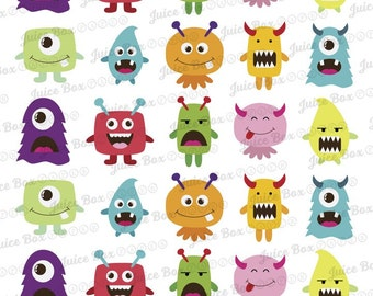Set of 30 Assorted Monster Stickers for Various Planners, Calendars, Journals