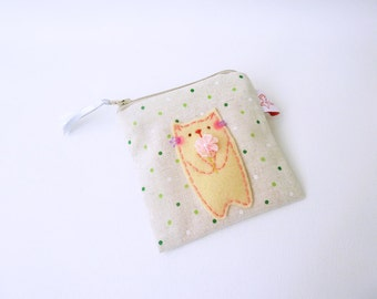 cat pouch, change pouch, cat coin purse, fabric wallet, cotton pouch, cat purse, card pouch, coin purse, coin pouch, pouch with cat, pouch