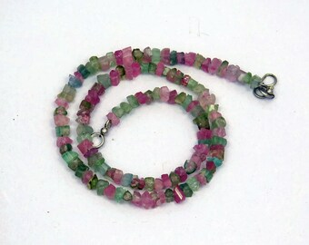 15 Inches Long Rough Multi Color Tourmaline Strand Necklace.