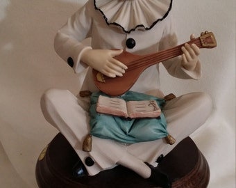 Hand Painted Jester or Minstrel Figurine Playing Mandolin - Italian Artist A. Bermi Signed