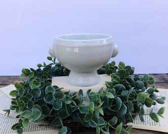 Vintage French Country White Lion Headed Soup Bowl / White Ironstone Bowl / Vintage China Bowl /White Stoneware