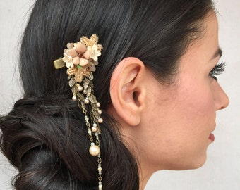 Downton Abbey hair jewelry - Beaded floral hairclip with dangle in color TAUPE