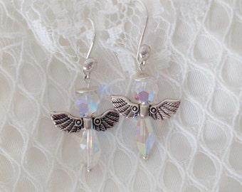 Swarovski angels, sterling silver angels earrings, sterling silver earrings, silver plated wings, Guardian Angel, Angel Wing Earrings