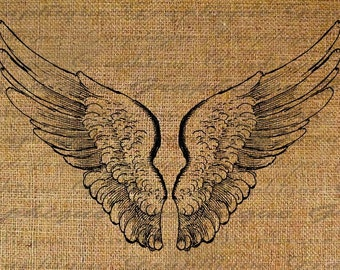 Angel Wings Flying Digital Image Download Transfers To Pillows Totes Tea Towels Burlap No. 1921