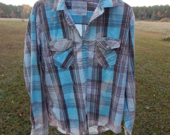 Distressed plaid Aeropostale shirt - bleached dipped splattered recycled- aqua gray - Size M (men's / unisex) (S14)