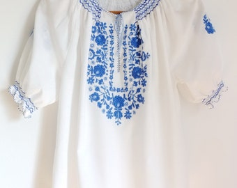 Vintage Romanian Peasant Blouse/Handmade Blue Embroidery/Folk/BoHo
