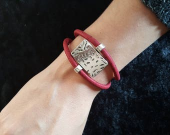 Bracelet double red Cork