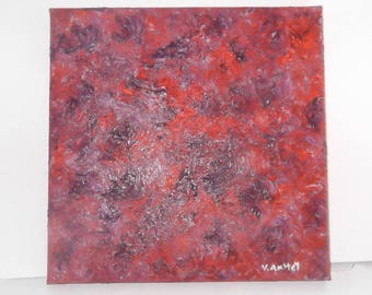 """Original oil on canvas orange and purple abstract painting signed by artist V. Anstey size 10"""" X 10"""""""