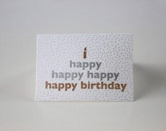 happy happy birthday letterpress mini card