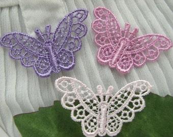 Mix 3color 120PC Venise Butterfly Appliques pink /purple /lilac ~ Cottage~ Doll