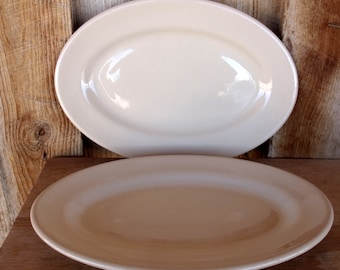 2 Vintage Shenango China RimRoc WellRoc Restaurant Ware Tan Oval Chop Plates Platters Dishes. Made New Castle PA USA. Excellent Condition.